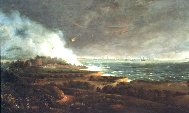 Painting of the battle of Baltimore and Ft. McHenry