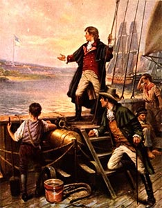 Francis Scott Key standing on boat, with right arm stretched out toward the US flag
